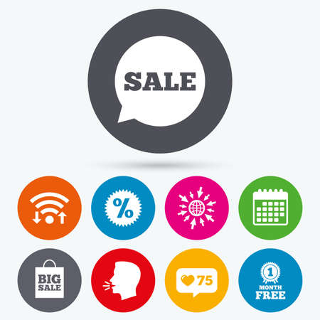 medal like: Wifi, like counter and calendar icons. Sale speech bubble icon. Discount star symbol. Big sale shopping bag sign. First month free medal. Human talk, go to web. Illustration