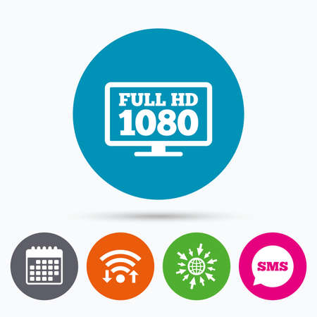 full hd: Wifi, Sms and calendar icons. Full hd widescreen tv sign icon. 1080p symbol. Go to web globe.