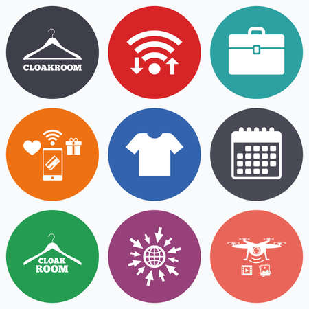 cloakroom: Wifi, mobile payments and drones icons. Cloakroom icons. Hanger wardrobe signs. T-shirt clothes and baggage symbols. Calendar symbol.