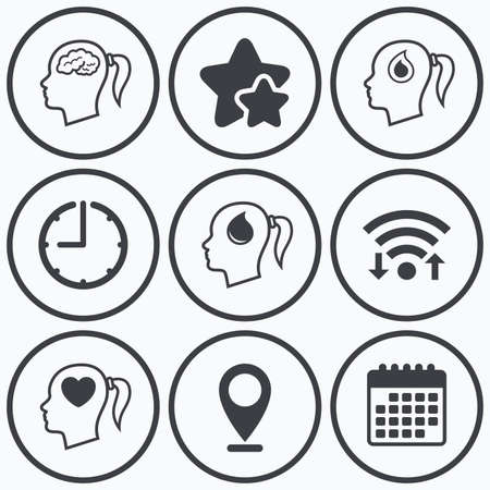 Clock Wifi And Stars Icons Head With Brain Icon Female Woman