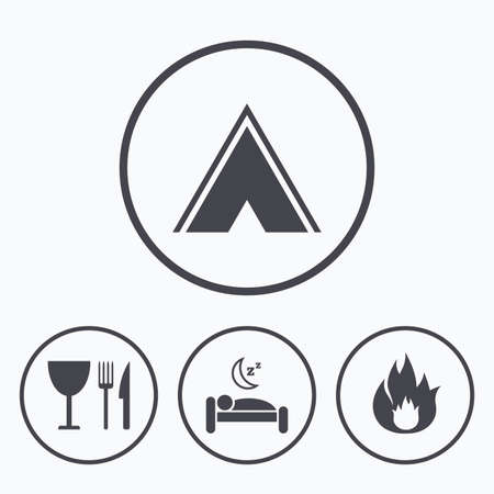 breakfast in bed: Food, sleep, camping tent and fire icons. Knife, fork and wineglass. Hotel or bed and breakfast. Road signs. Icons in circles.