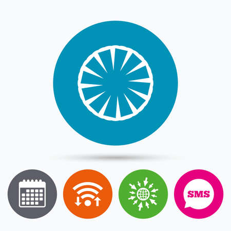 pineapple slice: Wifi, Sms and calendar icons. Pineapple slice sign icon. Ananas exotic tropical fruit symbol. Go to web globe.