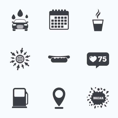 automated: Calendar, like counter and go to web icons. Petrol or Gas station services icons. Automated car wash signs. Hotdog sandwich and hot coffee cup symbols. Location pointer.