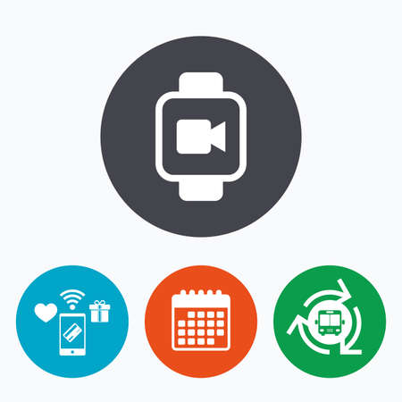 watch video: Smart watch sign icon. Wrist digital watch. Video camera symbol. Mobile payments, calendar and wifi icons. Bus shuttle.