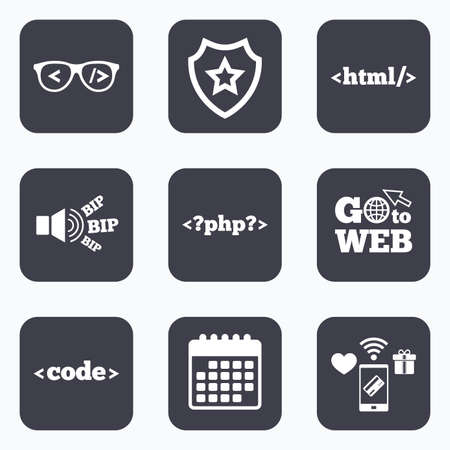coder: Mobile payments, wifi and calendar icons. Programmer coder glasses icon. HTML markup language and PHP programming language sign symbols. Go to web symbol.