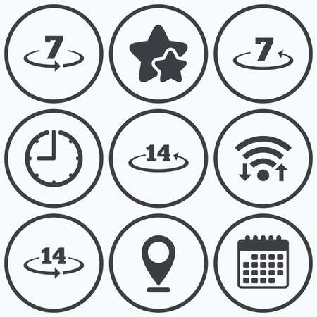days: Clock, wifi and stars icons. Return of goods within 7 or 14 days icons. Warranty 2 weeks exchange symbols. Calendar symbol.