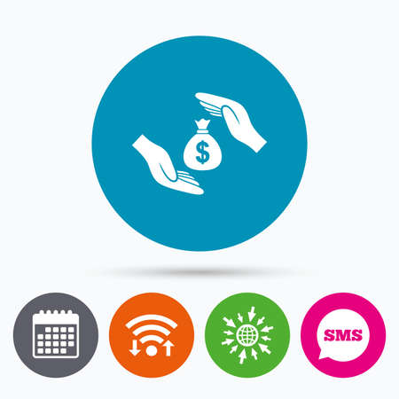 protect globe: Wifi, Sms and calendar icons. Protection money bag sign icon. Hands protect cash in Dollars symbol. Money or savings insurance. Go to web globe. Illustration