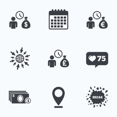 borrow: Calendar, like counter and go to web icons. Bank loans icons. Cash money bag symbols. Borrow money sign. Get Dollar money fast. Location pointer. Illustration