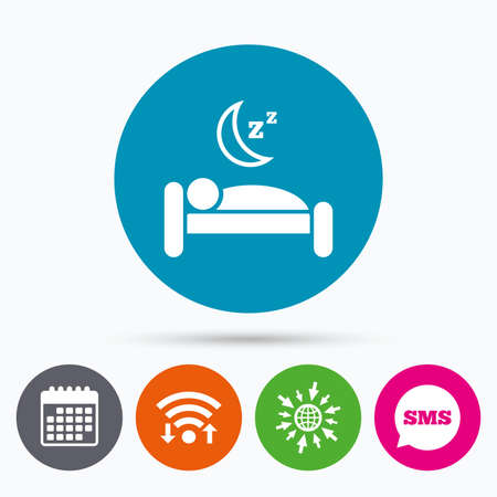 sleeper: Wifi, Sms and calendar icons. Hotel apartment sign icon. Travel rest place. Sleeper symbol. Go to web globe.