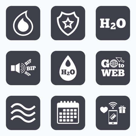 tear drop: Mobile payments, wifi and calendar icons. H2O Water drop icons. Tear or Oil drop symbols. Go to web symbol. Illustration