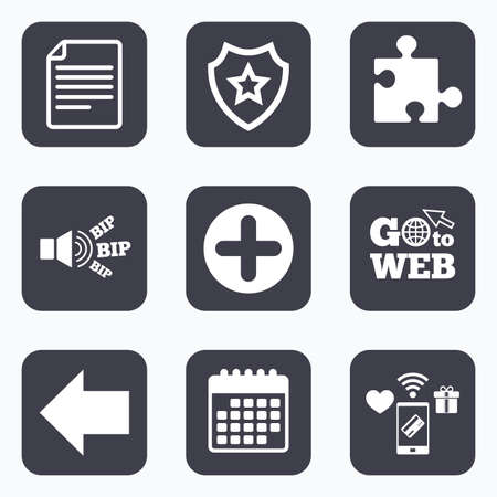 puzzle corners: Mobile payments, wifi and calendar icons. Plus add circle and puzzle piece icons. Document file and back arrow sign symbols. Go to web symbol.