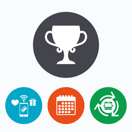 awarding: Winner cup sign icon. Awarding of winners symbol. Trophy. Mobile payments, calendar and wifi icons. Bus shuttle.