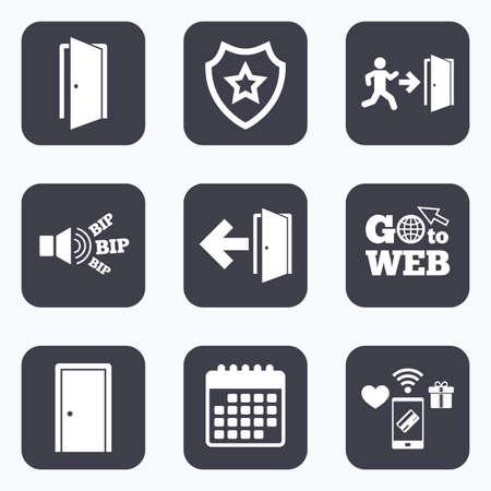 Mobiel betalen, wifi en agenda iconen. Doors iconen. Nooduitgang met de menselijke figuur en pijl symbolen. Nooduitgang borden. Ga naar web-symbool.