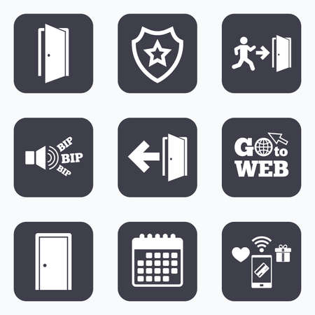 Mobile payments, wifi and calendar icons. Doors icons. Emergency exit with human figure and arrow symbols. Fire exit signs. Go to web symbol.