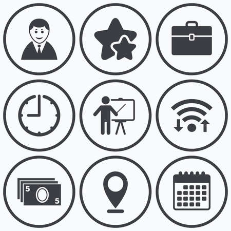 presentation people: Clock, wifi and stars icons. Businessman icons. Human silhouette and cash money signs. Case and presentation symbols. Calendar symbol. Illustration