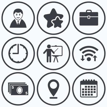 Reloj, WiFi y estrellas iconos. Iconos de empresario. silueta humana y dinero en efectivo signos. De casos y presentación símbolos. símbolo de calendario.
