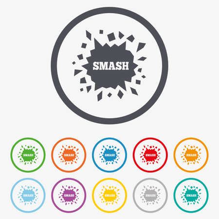 smashed: Cracked hole icon. Smash or break symbol. Round circle buttons with frame.