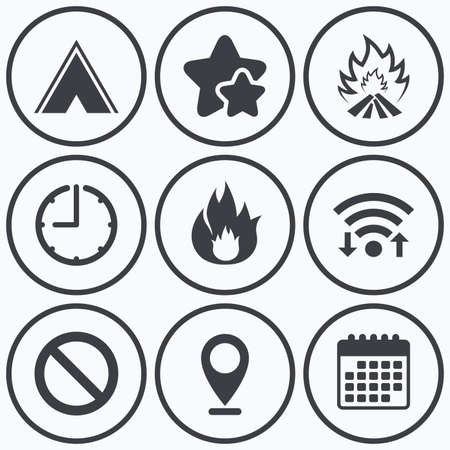 best shelter: Clock, wifi and stars icons. Tourist camping tent icon. Fire flame and stop prohibition sign symbols. Calendar symbol. Illustration