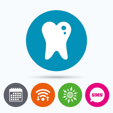 oral communication: Wifi, Sms and calendar icons. Caries tooth icon. Tooth filling sign. Dental care symbol. Go to web globe.
