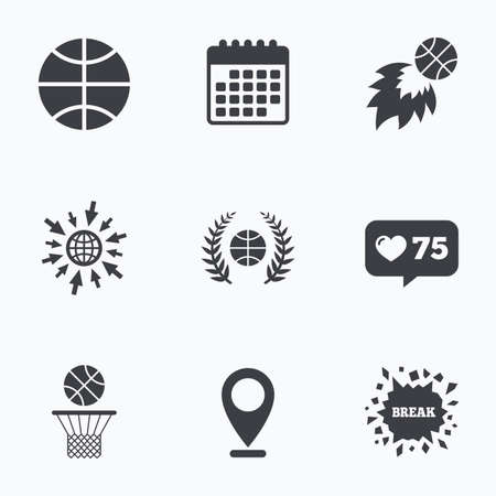 winning location: Calendar, like counter and go to web icons. Basketball sport icons. Ball with basket and fireball signs. Laurel wreath symbol. Location pointer.