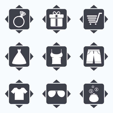 t square: Icons with direction arrows. Clothes, accessories icons. T-shirt, sunglasses signs. Wedding dress and ring symbols. Square buttons. Illustration