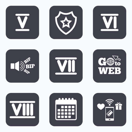 ancient rome: Mobile payments, wifi and calendar icons. Roman numeral icons. 5, 6, 7 and 8 digit characters. Ancient Rome numeric system. Go to web symbol. Illustration