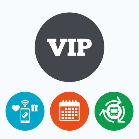 arrow icon: Vip sign icon. Membership symbol. Very important person. Mobile payments, calendar and wifi icons. Bus shuttle.