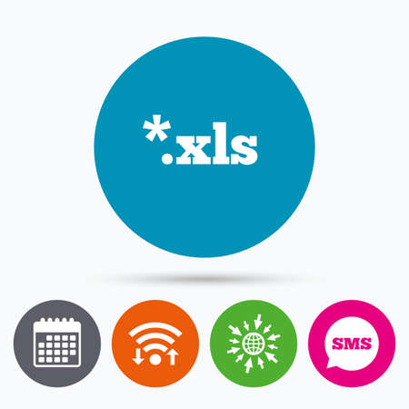 xls: Wifi, Sms and calendar icons. Excel file document icon. Download xls button. XLS file extension symbol. Go to web globe. Illustration