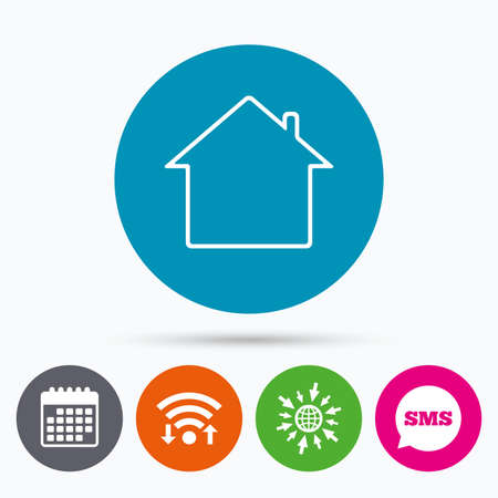 main: Wifi, Sms and calendar icons. Home sign icon. Main page button. Navigation symbol. Go to web globe.