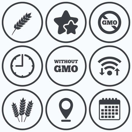set free: Clock, wifi and stars icons. Agricultural icons. Gluten free or No gluten signs. Without Genetically modified food symbols. Calendar symbol. Illustration