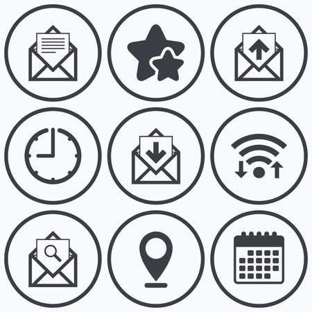 webmail: Clock, wifi and stars icons. Mail envelope icons. Find message document symbol. Post office letter signs. Inbox and outbox message icons. Calendar symbol.