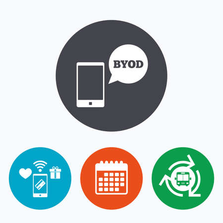 BYOD sign icon. Bring your own device symbol. Smartphone with speech bubble sign. Mobile payments, calendar and wifi icons. Bus shuttle.