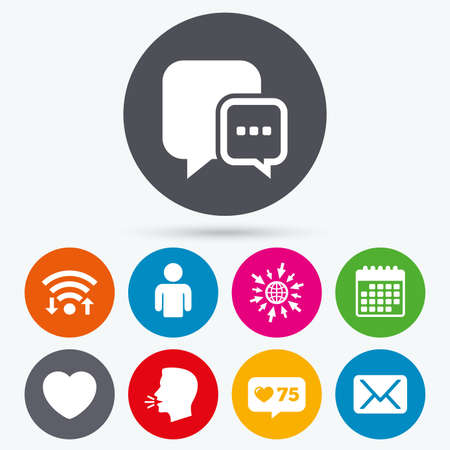 Wifi Like Counter And Calendar Icons Social Media Icons Chat