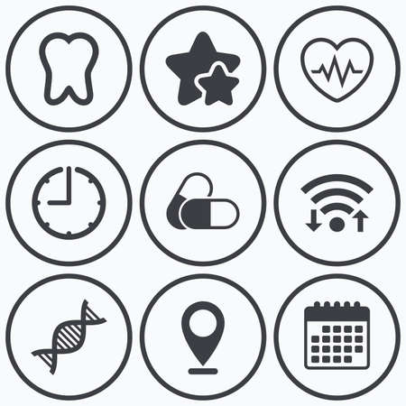 deoxyribonucleic: Clock, wifi and stars icons. Maternity icons. Pills, tooth, DNA and heart cardiogram signs. Heartbeat symbol. Deoxyribonucleic acid. Dental care. Calendar symbol. Illustration