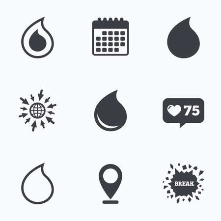tear: Calendar, like counter and go to web icons. Water drop icons. Tear or Oil drop symbols. Location pointer.