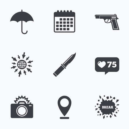 edged: Calendar, like counter and go to web icons. Gun weapon icon.Knife, umbrella and photo camera with flash signs. Edged hunting equipment. Prohibition objects. Location pointer.