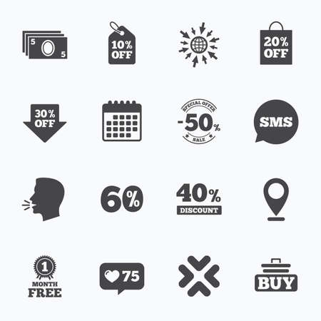 40 50: Calendar, go to web and like counter. Sale discounts icon. Shopping cart, buying and cash money signs. 40, 50 and 60 percent off. Special offer symbols. Sms speech bubble, talk symbols.