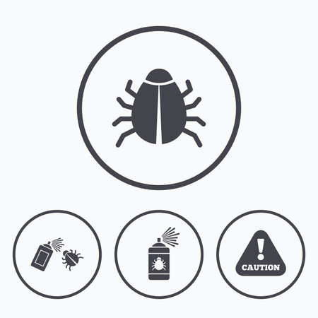 attention symbol: Bug disinfection icons. Caution attention symbol. Insect fumigation spray sign. Icons in circles.