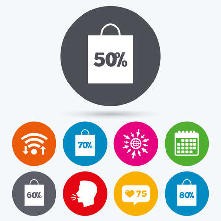 50 to 60: Wifi, like counter and calendar icons. Sale bag tag icons. Discount special offer symbols. 50%, 60%, 70% and 80% percent discount signs. Human talk, go to web.