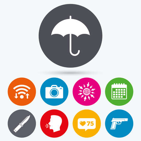 edged: Wifi, like counter and calendar icons. Gun weapon icon.Knife, umbrella and photo camera signs. Edged hunting equipment. Prohibition objects. Human talk, go to web. Illustration
