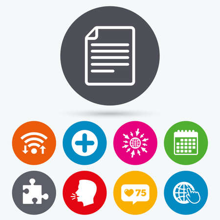 globe puzzle: Wifi, like counter and calendar icons. Plus add circle and puzzle piece icons. Document file and globe with hand pointer sign symbols. Human talk, go to web.