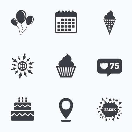 Calendario, como contador e ir a iconos de la web. Iconos de la fiesta de cumpleaños. Pastel con signos de helado. globos de aire con el símbolo de la cuerda. Ubicación del puntero.