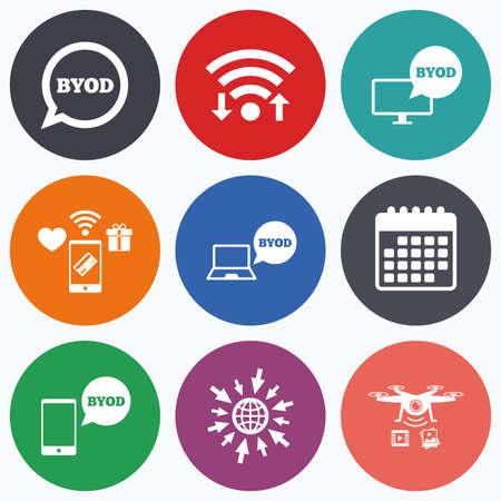 Wifi、モバイル決済、無人偵察機のアイコン。BYOD アイコン。ノート パソコンとスマート フォンの看板。音声バブルの象徴。カレンダーの記号です。