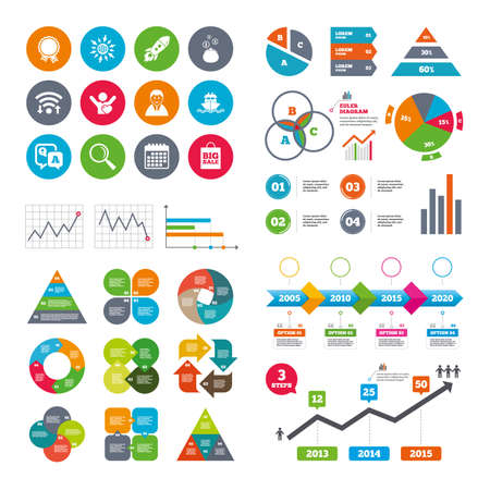 medal like: Wifi, calendar and web icons. Online shopping, e-commerce and business icons. Startup, award and customers like signs. Cash money, shipment and sale symbols. Diagram charts design.