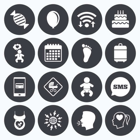 Wifi, calendar and mobile payments. Pregnancy, maternity and baby care icons. Candy, strollers and pacifier signs. Footprint, birthday cake and heart symbols. Sms speech bubble, go to web symbols.