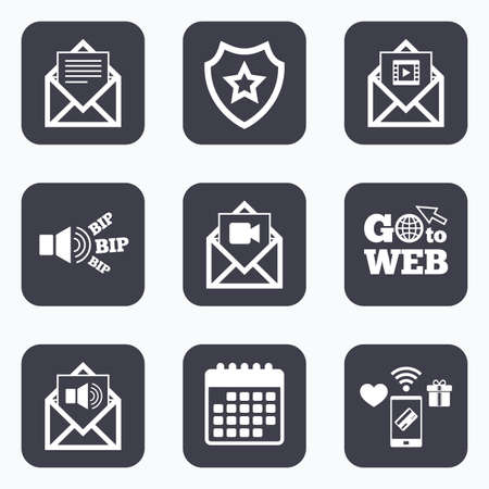 voice mail: Mobile payments, wifi and calendar icons. Mail envelope icons. Message document symbols. Video and Audio voice message signs. Go to web symbol. Illustration