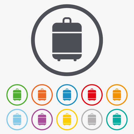 luggage bag: Travel luggage bag icon. Baggage symbol. Round circle buttons with frame.