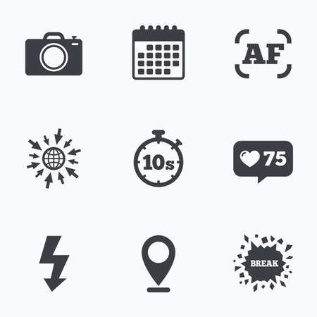 autofocus: Calendar, like counter and go to web icons. Photo camera icon. Flash light and autofocus AF symbols. Stopwatch timer 10 seconds sign. Location pointer.