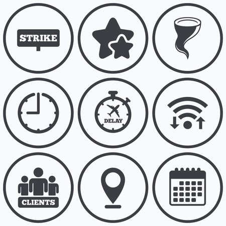 delayed: Clock, wifi and stars icons. Strike icon. Storm bad weather and group of people signs. Delayed flight symbol. Calendar symbol.