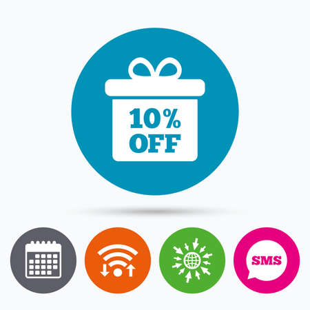 offer: Wifi, Sms and calendar icons. 10% sale gift box tag sign icon. Discount symbol. Special offer label. Go to web globe.